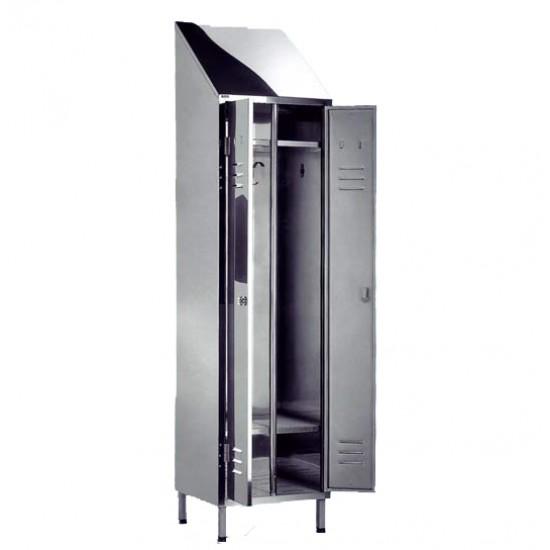 Ανοξείδωτη ντουλάπα - ιματιοθήκη Nieros KSD με 2 πόρτες