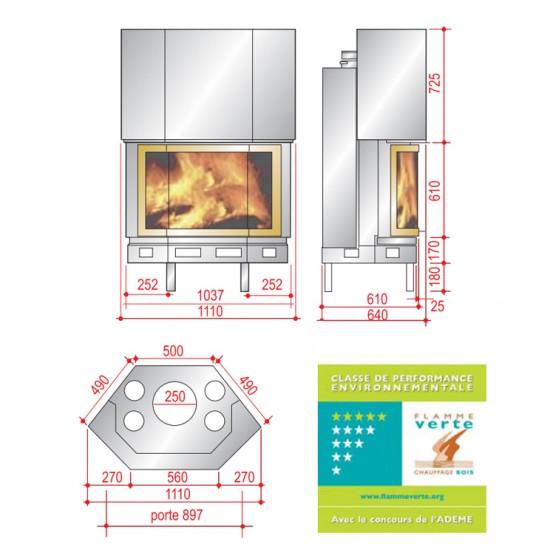Ενεργειακή μεταλλική εστία τζακιού AXIS P1100 πρισματική με ισχύ 15KW