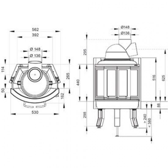 Ενεργειακό τζάκι Nordpeis NI-22 BIFOLD με θερμική ισχύς 3-10KW και κάλυψη έως 150 τ.μ.
