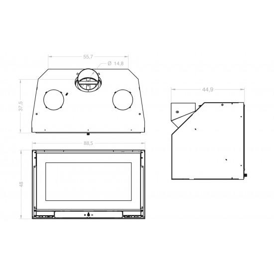Ενεργειακή εστία τζακιού ARTE NEAT 90 για χώρους 25-140 τμ.