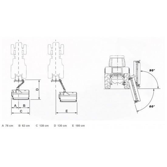 Καταστροφείς χόρτων με ωφέλιμο πλάτος κοπής 125-165cm GIEMME TRINCIA BCL για τρακτέρ 40-56hp