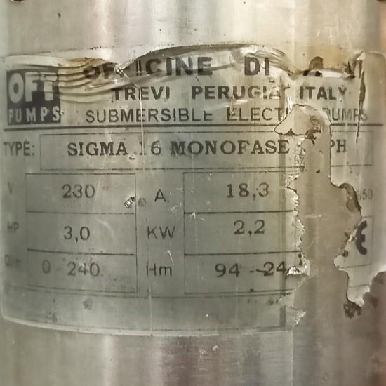 Υποβρύχια ηλεκτροκίνητη αντλία γεωτρήσεων 3.0 Hp OFT PUMPS SIGMA 16 (Μεταχειρισμένο)