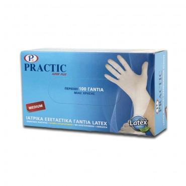 Ιατρικά εξεταστικά γάντια μιας χρήσης PRACTIC Medium λευκά (100 τεμ.)