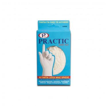 Ιατρικά εξεταστικά γάντια μιας χρήσης PRACTIC Large λευκά (10 τεμ.)