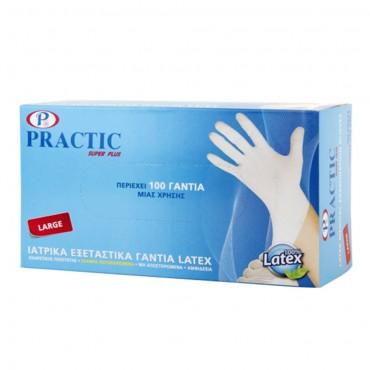 Ιατρικά εξεταστικά γάντια μιας χρήσης PRACTIC Large λευκά (100 τεμ.)