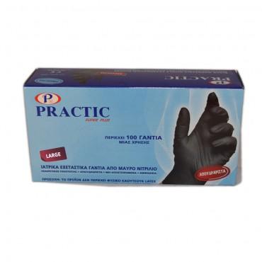 Ιατρικά εξεταστικά γάντια από μαύρο νιτρίλιο PRACTIC Large (100 τεμ.)