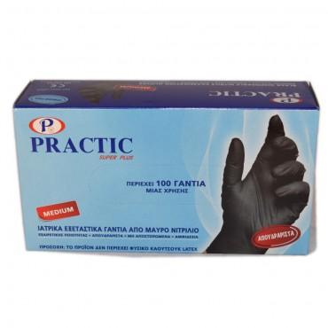 Ιατρικά εξεταστικά γάντια από μαύρο νιτρίλιο PRACTIC Medium (100 τεμ.)